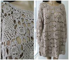 CROCHET Cotton Scalloped Tunic Sweater Shirt Dress S/M