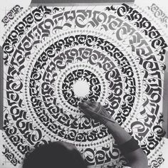 Mandala caligráfica.  Foto do facebook de Cryptik
