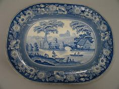 "BLUE AND WHITE STAFFORDSHIRE PLATTER. ""Wild Rose, Roma"