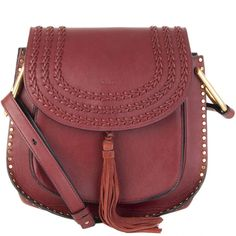 Chloé Burgundy With Gold Tone Studs Braided Detail Crossbody Bag