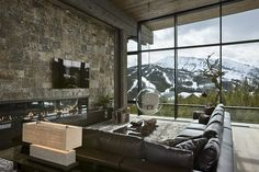 Lower Foxtail Chalet by Reid Smith Achitects & Teton Heritage Builders Location: Yellowstone Club, Montana, USA Interior design: Design Services Photo courtesy: Roger Wade Photography Description: The Modern Mountain Home, Mountain Homes, Mountain View, Mountain Range, Mountain Landscape, Interior Architecture, Interior And Exterior, Windows Architecture, Interior Decorating