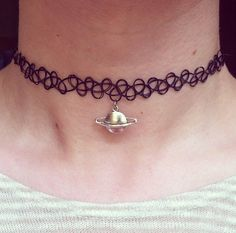 PREORDER* Saturn Planet Tattoo Choker - Black 90's Silver Charm Necklace - by Nomadic Store on Etsy, $13.97