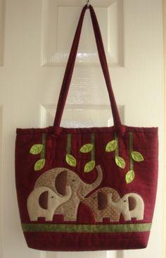 tote bag -- elephant appliques -- Bobbin Patch: Jumbo bag