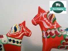 Dala Horse Pair of 2 5 and 3 Orange Red Made by YourGreatestStory