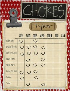 Kids Chore Charts printable sustainable