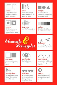 Elements and Principles: Visual of the Elements with simple visual representations in a poster
