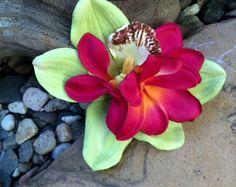 Plumeria Lime Green Orchid Tropical silk flower hair clip