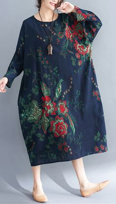 blue natural linen dress  casual linen clothing dresses top quality long sleeve prints dresses#plussizedress#omychic