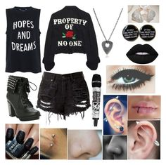 """""""Untitled #647"""" by haylove22 ❤ liked on Polyvore featuring French Connection, High Heels Suicide, M.Cohen Handmade Designs, Deborah Lippmann and Lime Crime"""