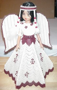 This Indian Princess Doll is made from plastic canvas. This doll was made by a 94 year young lady that lives Plastic Canvas Crafts, Plastic Canvas Patterns, Baby Indian Costume, Native American Dress, Indian Princess, Indian Dolls, Vintage Crochet Patterns, Barbie, Princess Outfits