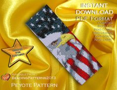 SALE 15% OFF - Peyote Pattern Bracelet Cuff Beading Miyuki Delica Size 11 Beads - PDF Download -Golden Eagle Flag Vertical