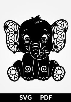 TWO designs SVG / PDF cut file papercutting template baby elephant papercut diy project digital printing template printable stencil Vorlagen Paper Cutting Templates, Stencil Templates, Printable Stencils, Kirigami, Machine Silhouette Portrait, Baby Elefant, Silhouette Cameo Projects, Silhouette Design, Disney Silhouette Art