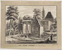 Aquarel van de Slijkpoort, later Arnhemsepoort te Amersfoort, gezien uit het zuidoosten. Op de achtergrond de Onze-Lieve-Vrouwetoren