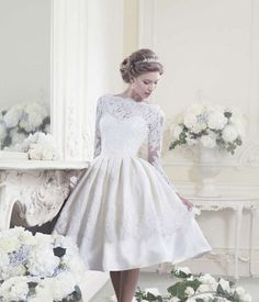 ca911730e89c9 Online Shop vestido de noiva White 2014 Elegant Modest Full Long Sleeve  Wedding Gowns Open Back Lace Short Wedding Dress