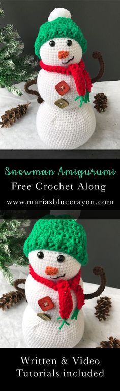 Snowman Amigurumi   Free Crochet Pattern   Free Crochet Along with Written and Video Tutorial   Crochet Christmas Home Decor   Holiday & Winter Decor   DIY