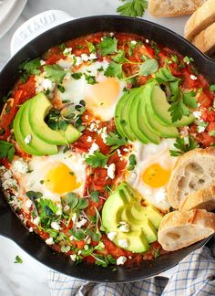 Learn how to make shakshuka at home! A traditional Middle Eastern breakfast food, this shakshuka recipe features eggs poached in a spicy tomato red pepper sauce. Yum!   Love and Lemons #shakshuka #brunch #dinnerideas #eggs #vegetarian How To Make Shakshuka, Shakshuka Recipes, Vegetarian Breakfast, Breakfast Recipes, Breakfast Time, Going Vegetarian, Vegetarian Dinners, Vegetarian Cooking, Vegetarian