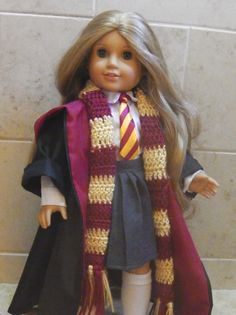 Hermione granger costume for american girl! American Girl Outfits, American Girl Crafts, American Girls, Girl Doll Clothes, Doll Clothes Patterns, Girl Dolls, Ag Dolls, Doll Patterns, Barbie Dolls
