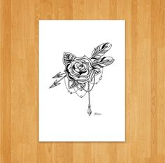 Rose and Arrow Print by OliviaMooreDesigns on Etsy