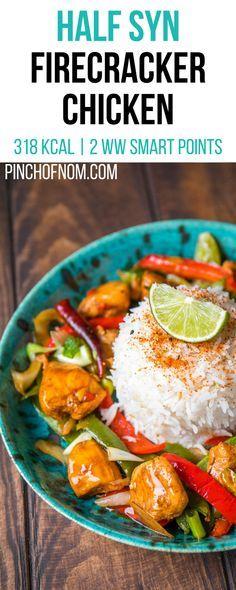 Half Syn FireCracker Chicken   Pinch Of Nom Slimming World Recipes  318 kcal   0.5 Syn   2 Weight Watchers Smart Points