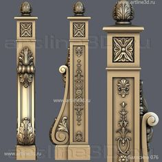 Balusters model for CNC stl model - baluster Wooden Staircase Railing, Luxury Staircase, Iron Stair Railing, Interior Staircase, Staircase Design, Railings, Metal Handrails, Pillar Design, Wall Panel Design