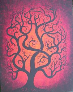 Red Tree painting Original Acrylic painting  art by by treeartist