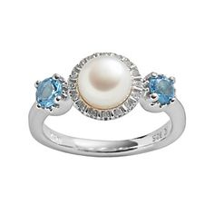 Freshwater by HONORA Sterling Silver Freshwater Cultured Pearl, Blue Topaz & Diamond Accent Ring