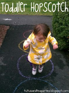 """Simplifying """"Older Kids"""" activities for the younger ones! Toddler Hopscotch"""