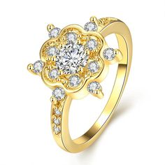 Gold Plated Snowflake with Jewels Ring, Women's