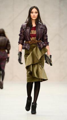 Velvet ruffle skirt from Burberry