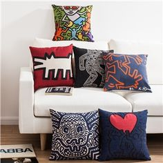 Nordic Ikea Keith Haring's Masterpiece Sofa Office Linen Pillow Cover