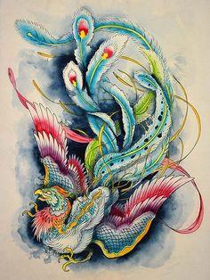 Hou-Ou Firebird by Clark North Watercolor Phoenix Tattoo Art Print –…