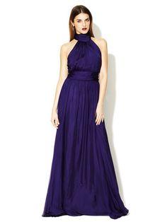 Badgley Mischka Collection   Silk Halter Tie Flared Gown