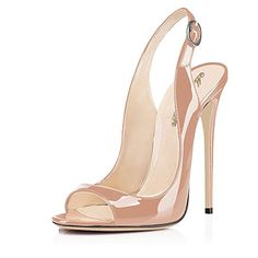 Peep toe Looks Classy in Any Party modemoven beige patent leather pumps,peep toe heels,slingback sandals,evening shoes rymgkll High Heels Stilettos, Peep Toe Heels, Stiletto Heels, Shoes Heels, Me Too Shoes, Cute Shoes, Slingback Sandal, Slingbacks, Evening Shoes