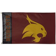 Texas State University NCAA College Banner Flag measures 3x5 feet, is made polyester, has quadruple stitched flyends, a canvas side header with two metal grommets...