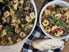Creamy Italian Sausage Tortellini try frying the sausage and then letting the crock pot cook it a few hours