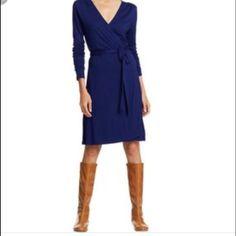 Navy Jersey Knit Wrap Dress