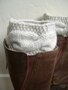 Cream knitted Boot cuffs - Knit torsade boot toppers  - Fall Winter Fashion 2013 - Beige Leg warmers - Chunky - Machine Washable- SALE. $34.00, via Etsy.