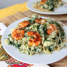 Whole wheat pasta covered in a spinach artichoke sauce and topped with shrimp that tastes way more indulgent than it really is. Full of veggies, fiber, and lean protein