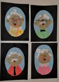 Kinder-Gardening: day portraits I had them use crunched up brown coffee filters for faces, black eyed peas for the eyes and two kidney beans for the lips. I wish you could see the gold glitter glasses! Would also work for Grandparents Day. 100s Day, Art For Kids, Crafts For Kids, Old Teacher, School Portraits, Kindergarten Art, Preschool, Family Crafts, Grandparents Day