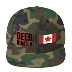 Deer Hunter Text With US Flag Patch Style Partial Snapback Hat – Print-ted Flag Patches, Green Print, Dad Hats, Snapback Hats, Camo, Deer, Baseball Hats, Cotton, Canada