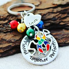 Pieced Together Perfectly Autism Keychain The Way You Are, Awareness Ribbons, Metal Stamping, Aspen, Custom Jewelry, Autism, Hand Stamped, Charity, Jewelery