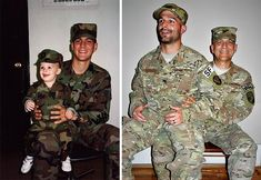 "35 Then and now pictures - ""Nearly 30 years elapsed; just before my retirement, we re-created my favorite photo of my oldest son & I…"" Funny Family Photos, Funny Meme Pictures, Funny Memes, Hilarious, Then And Now Pictures, 17 Kpop, Photo Recreation, Military Love, Military Jacket"
