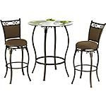 "#AmericanSignaturePinToWin  Our Main Street Logan Bar Stool is the answer to your entertainment needs.  This beautiful 3-piece bistro package includes a 39"" round Table and two upholstered Stools.   The seat and back cushions are fully upholstered in a rich, chenille.  View our full assortment of Main Street Bistro and Bar Sets online or visit a store close to home!    SKU: 1295438 - Main Street Logan 3-PC Bistro Set   Bar Stool - 17""W x 20""D x 45""H  Bistro Table - 39""W x 39""D x 42""H"