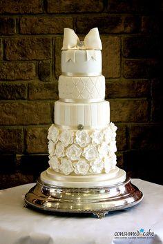 Ivory & White Bow & Ruffle Flower Cake