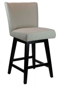 BarStools / Counter Stools :: Swivel Counter Stool with Back in Neutral Linen Fabric - ARTeFAC
