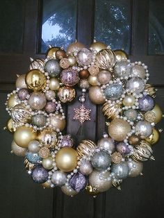 Diy holiday projects using dollar store ornaments 42 - GODIYGO. Bauble Wreath, Christmas Ornament Wreath, Christmas Projects, Christmas Holidays, Xmas, Pink Christmas Decorations, Glitter Ornaments, Victorian Christmas, Holiday Wreaths