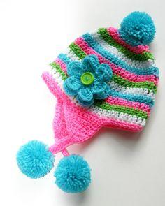 Rainbow hat Earflap Toddler Girl pom crochet Custom 12-36 months. $22.00, via Etsy.