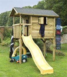 Grote foto houten speelhuis op palen kinderen speelgoed speelgoed voor buiten