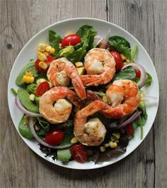 Salad with Avocado, Corn and Grilled Shrimp recipe