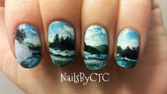 Landscape captured by Carl Heilman painted onto nails by NailsByCTC